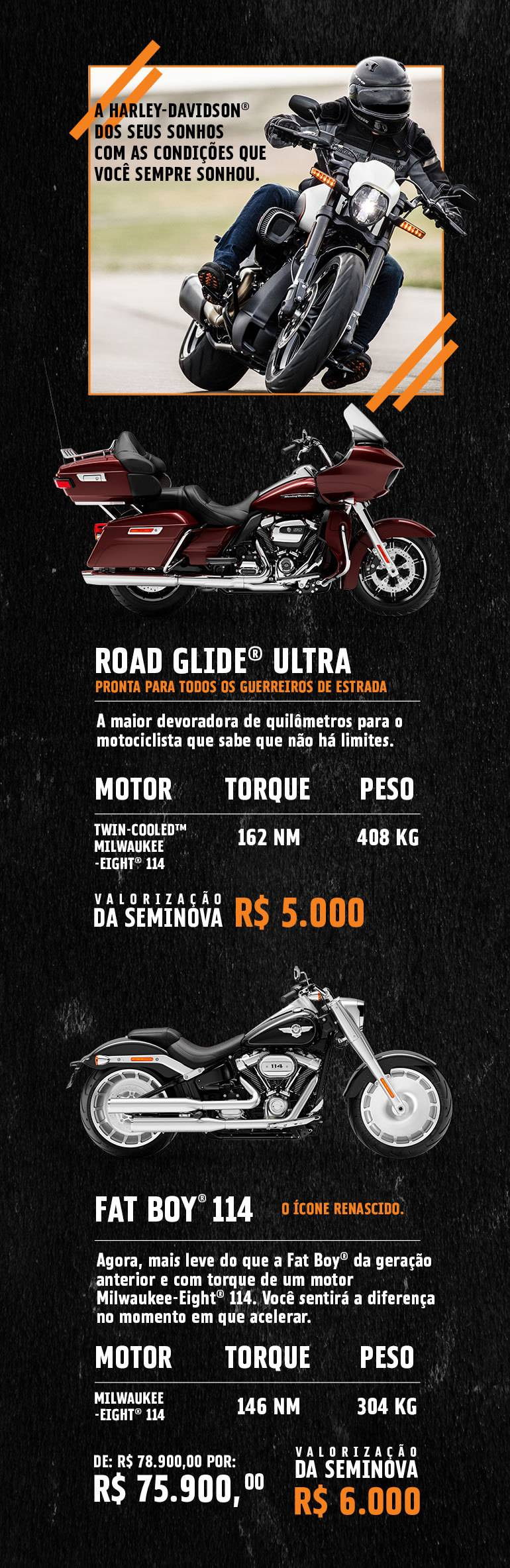 Oferta Road Glide Ultra e Fat Boy 114