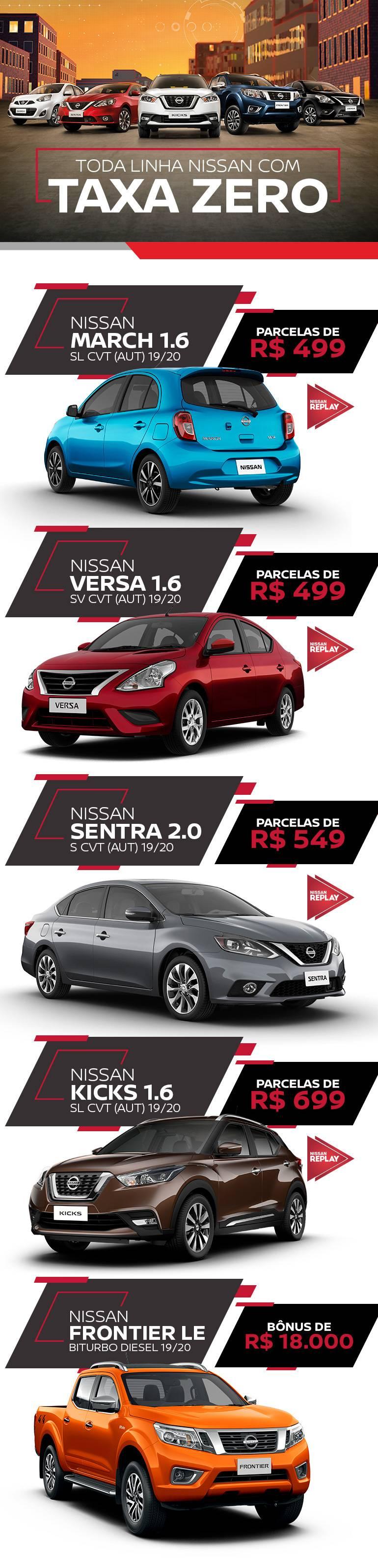 Linha Nissan com Taxa Zero
